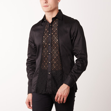 Slim-Fit Printed Paisley Dress Shirt // Black (S)