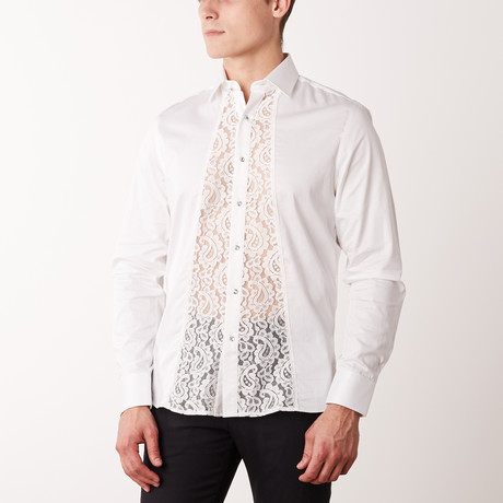 Slim-Fit Printed Paisley Dress Shirt // White (S)