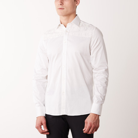 Slim-Fit Printed Dress Shirt + Lace Overlay // White (S)