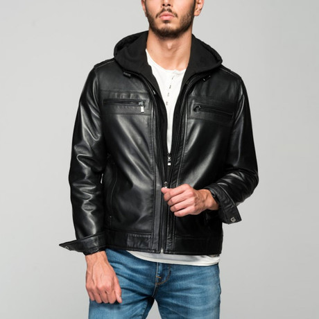 Atanasio Leather Jacket // Black (XS)