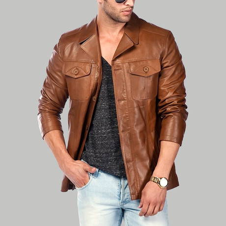Apuleio Leather Jacket // Tobacco (XS)