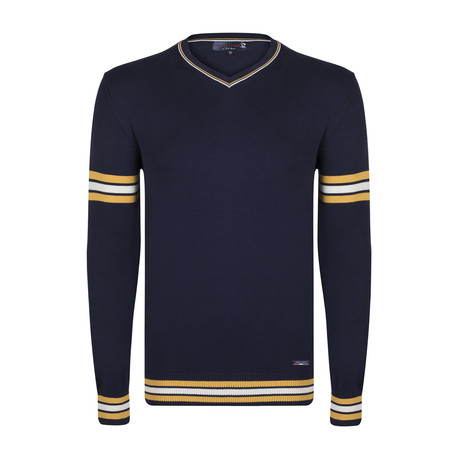 Reed Pullover // Navy + Yellow + Ecru  (XS)