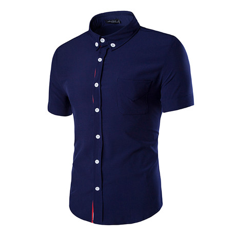 Short Sleeve Shirt // Navy Blue Solid (M)