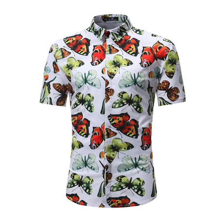 Short Sleeve Shirt // Multi Color Butterfly (S)