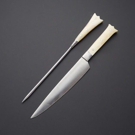 Stainless Steel Carving Fork + Knife Set B // Camel Bone Handle