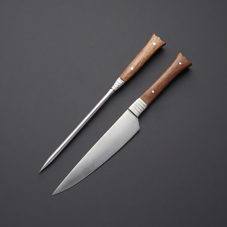 Stainless Steel Carving Fork + Knife // Walnut Wood Handle