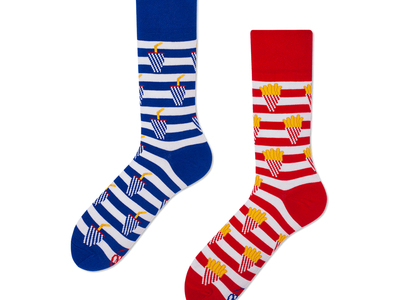 Many Mornings Colorful, Mismatched Socks Fries And Soda (Size 3-6) by Touch Of Modern - Denver Outlet