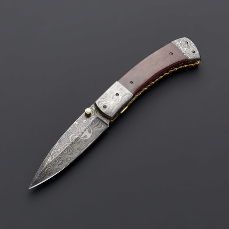 Damascus Autumn Bone Folding Pocket Knife