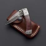 Damascus Autumn Bone Folding Pocket Knife