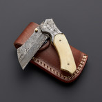 Damascus Camel Bone Folding Razor Pocket Knife