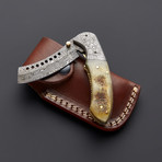 Damascus Sheep Horn Folding Pocket Knife