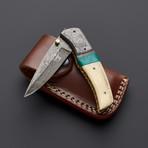 Damascus Camel Bone + Turquoise Folding Knife