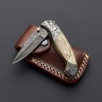 Damascus Water Buffalo Horn Folding Knife