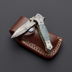 Damascus Black Bone Stiletto Dagger Folding Knife