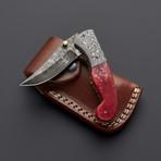 Damascus Red Camel Bone Folding Pocket Knife