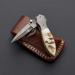 Damascus Sheep Horn Folding Stiletto Dagger Knife