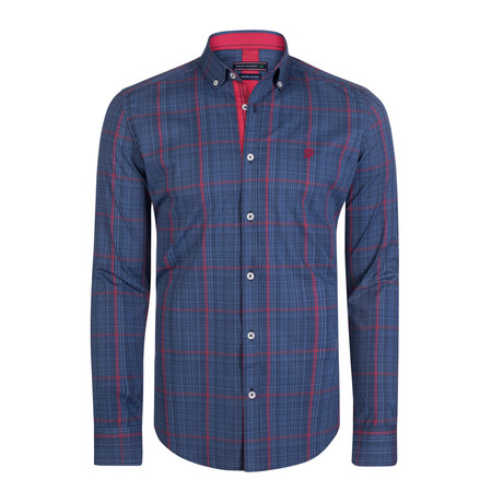 Capricornus Dress Shirt // Navy + Red (XS)