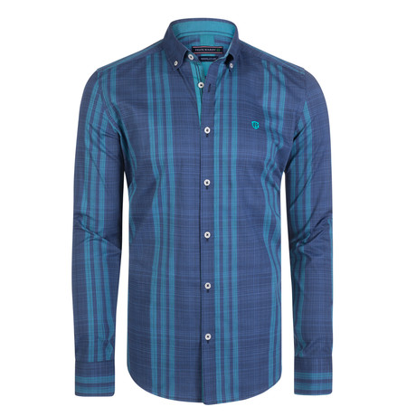 Canis Dress Shirt // Navy + Teal (S)