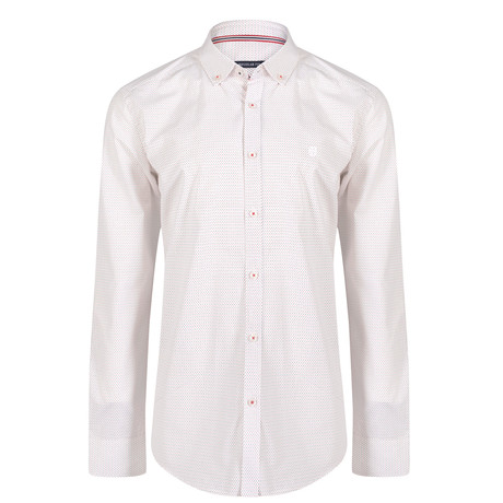 Momus Dress Shirt // White + Navy + Red (XS)