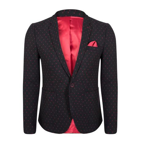 Indus Blazer Jacket // Black + Red (S)