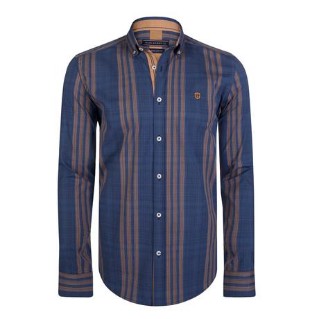 Camelopardus Dress Shirt // Navy + Orange (S)