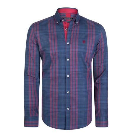 Cancer Dress Shirt // Navy + Red (S)