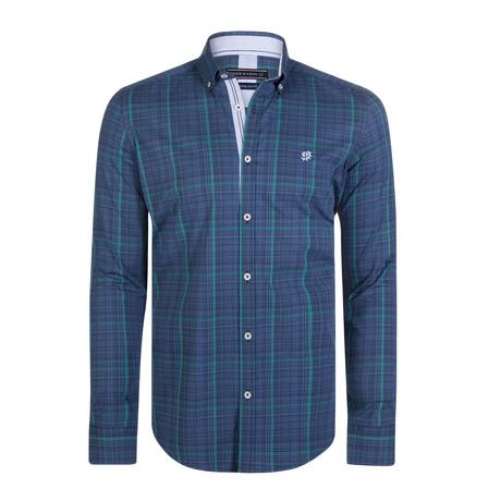 Carina Dress Shirt // Navy + Mint (S)