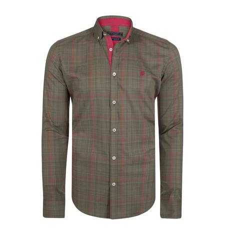 Chamaeleon Dress Shirt // Olive + Red (S)