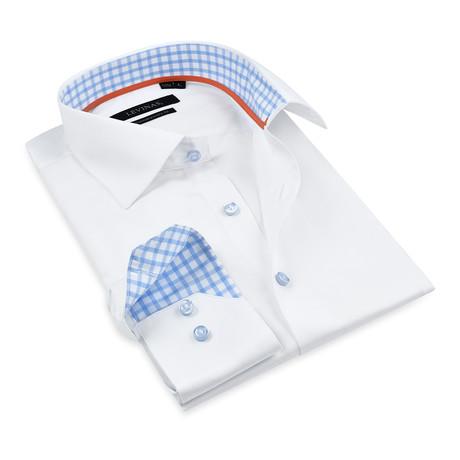 Button-Up Shirt I // White + Light Blue (S)