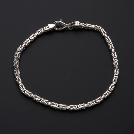 "Square Byzantine Chain Bracelet // 3mm // 8.5""L"