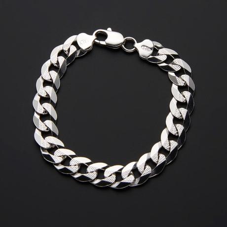 """Diamond Cut Cuban Pave Chain Bracelet // 8.5""""L"""