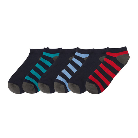 Supersoft Low Cut Rugby Stripe Socks // Pack of 6 // Multicolor