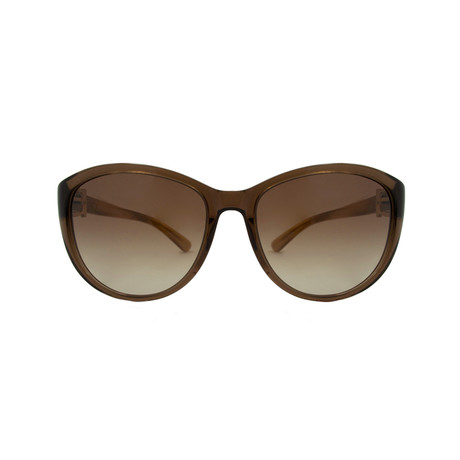 Ferragamo // Women's Oversized Sunglasses // Crystal Brown + Brown Gradient