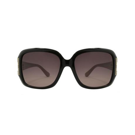 Ferragamo // Women's Rectangle Sunglasses // Black + Tan Temples + Brown Gradient