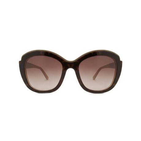 Ferragamo // Women's Cat Eye Sunglasses // Havana Beige + Brown Gradient