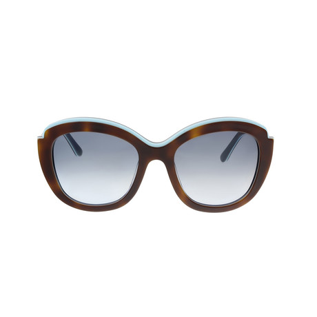 Ferragamo // Women's Cat Eye Sunglasses // Havana + Blue + Brown Gradient