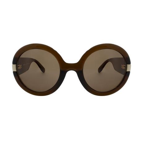 Ferragamo // Women's Round Sunglasses // Brown + Brown