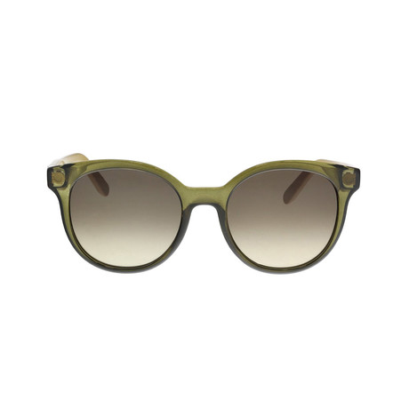 Ferragamo // Rounded Sunglasses // Crystal Olive + Brown Gradient