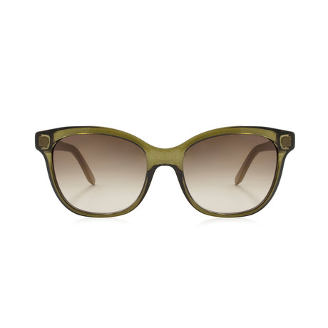 Ferragamo // Modified Rectangle Sunglasses // Crystal Olive + Brown Gradient