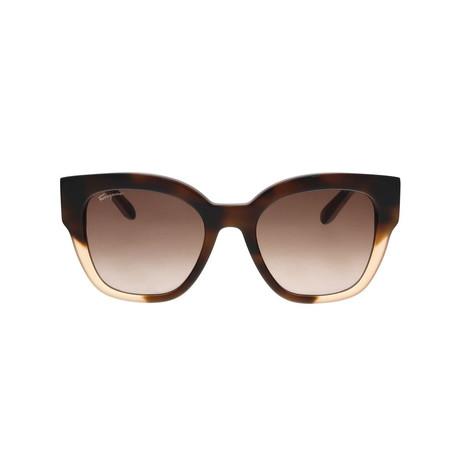 Ferragamo // Women's SF856S Sunglasses // Havana + Beige + Brown Gradient