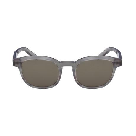 Ferragamo // Men's Classic Round Sunglasses // Striped Gray + Gray