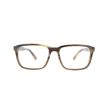 Salvatore Ferragamo // Rectangular Eyeglasses // Brown Horn