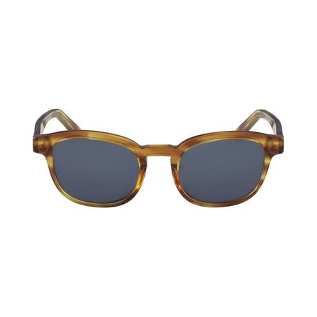 Ferragamo // Men's Classic Round Sunglasses // Striped Brown + Gray