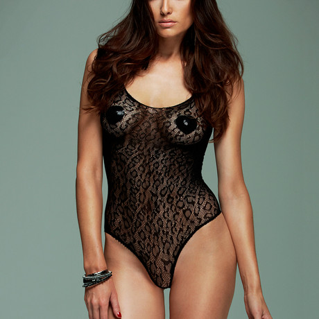 High-Cut Animal Print Bodysuit // Black