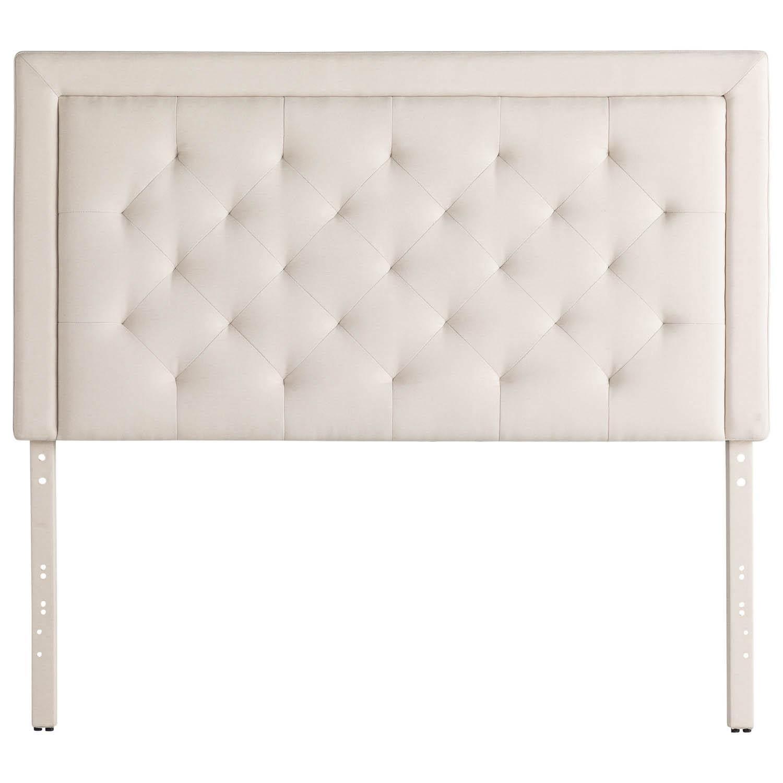 Rectangle Diamond Tufted Upholstered Headboard Ivory