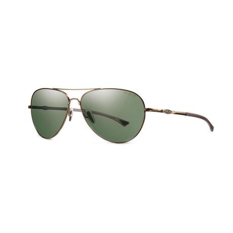 Smith // Men's Audible Polarized Aviator // Semi Matte Gold + Green