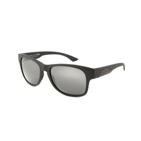 Smith // Men's Square Polarized Sunglasses // Matte Black + Gray Mirror