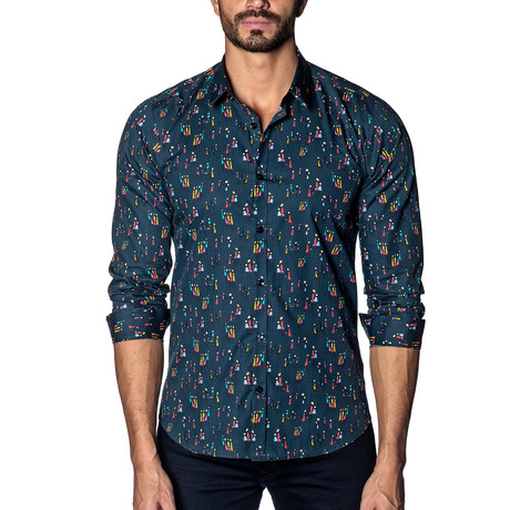 Long Sleeve Shirt // Navy Multicolor People Print (XS)