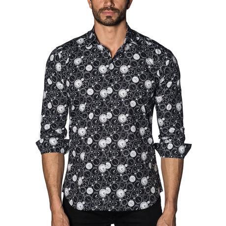 Long Sleeve Shirt // Black Clocks (S)