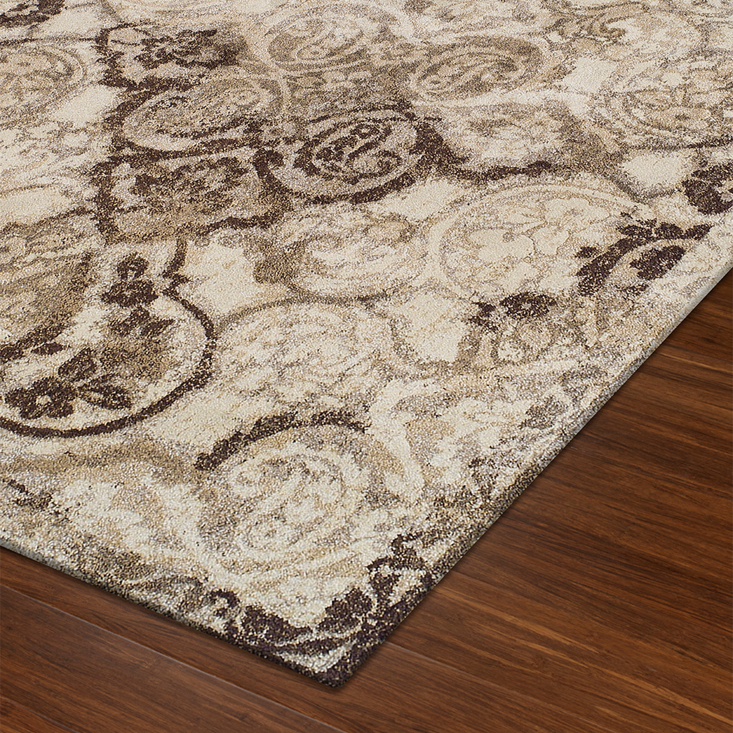 Distressed Damask Brown Ivory